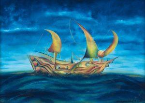 Kunst Gemälde Painting meereigenes Schiff