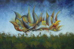 Kunst Gemälde Painting Nachtflug