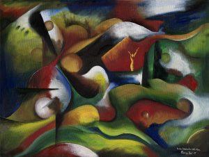 Kunst Gemälde Painting kurzes Wiedersehen mit Marc