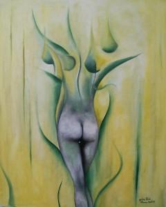 Kunst Gemälde grüne Blüte
