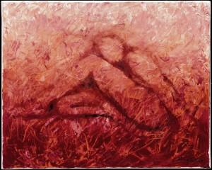 Kunst Gemälde Öl auf Leinwand rot