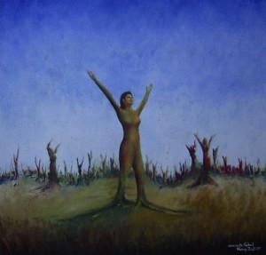 Kunst Gemälde Painting verwurzelte Freiheit
