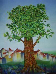 Kunst Gemälde Bücherbaum