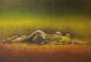 Gemälde Frau moderne Kunst Liegende unter grünem Himmel