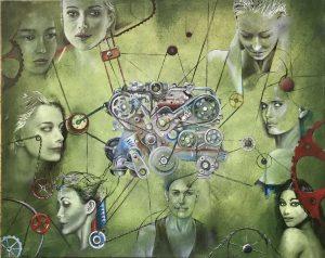 Gemälde moderne Kunst Frau Motor Jaguar