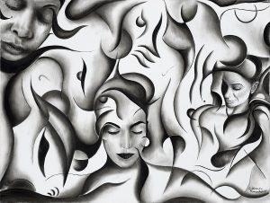Kunst Gemälde Painting Die Träumenden